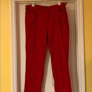 Plus size lands in red corduroy pants